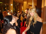 Janeen Mansour greets Nancy O'Dell, Access Hollywood.